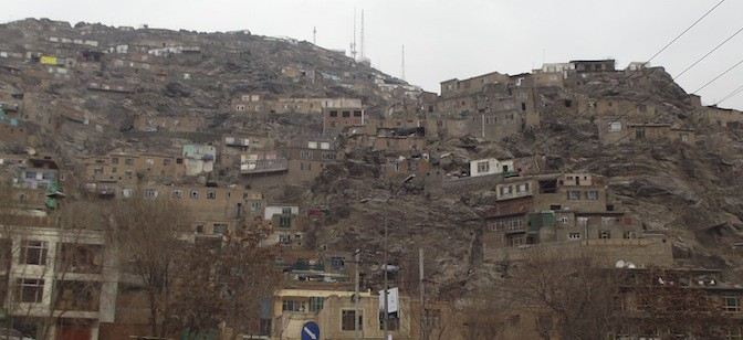 Shanty housing on a Kabul hillside