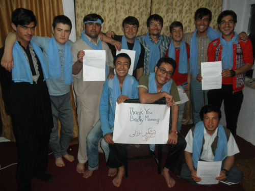 From Afghanistan, thank you Bradley Manning!