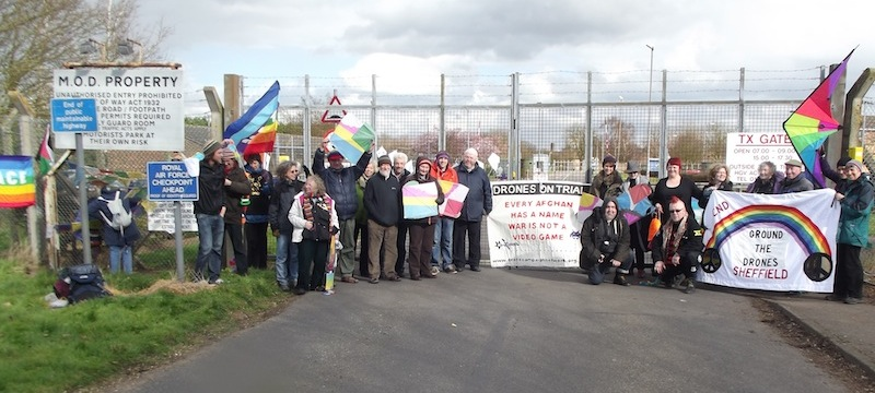 Fly Kites Not Drones outside RAF Waddington, the UK's drone operation base