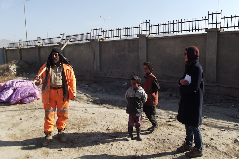 Henrietta in Kabul, visiting a refugee camp