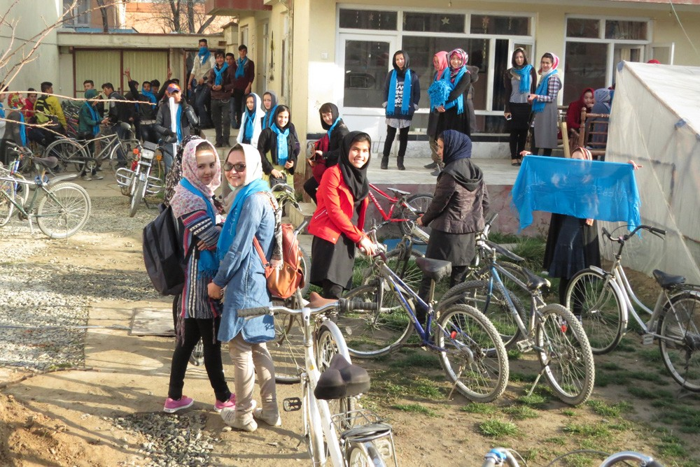 In mark international women's day, the Afghan Peace Volunteers held a mixed gender bike ride!