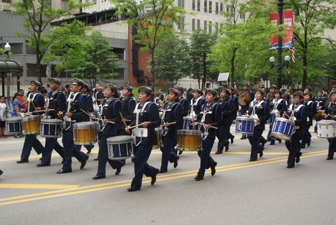 Memorial Day Parade in downtown Chicago